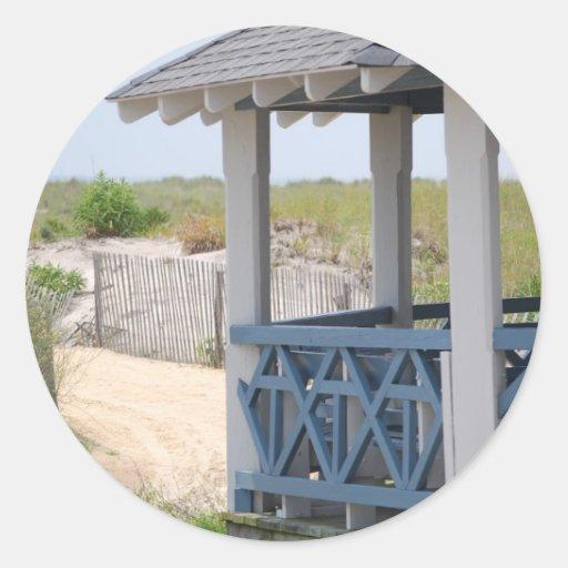 choza de la playa pegatina redonda