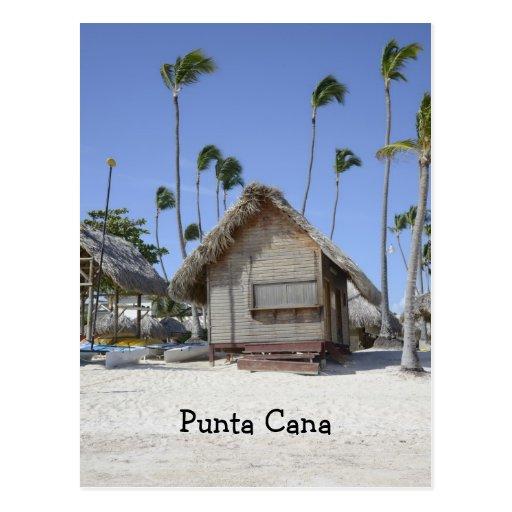 choza de madera en una playa tropical tarjetas postales