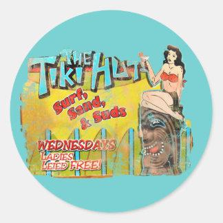 Choza de Tiki del vintage divertida Pegatina Redonda