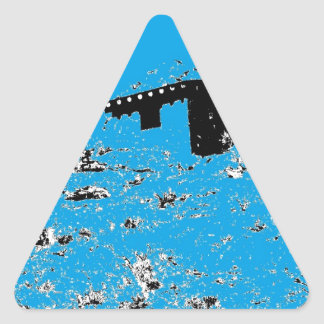Choza del desierto de la turquesa pegatina triangular