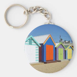Choza Melbourne Australia de la caja de la playa Llavero Redondo Tipo Pin