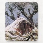 Choza nevada por Friedrich Tapete De Ratones
