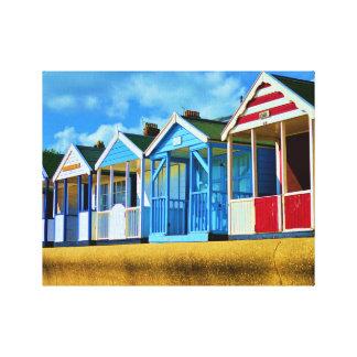 Chozas coloridas de la playa impresiones de lienzo