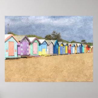Chozas de la playa de Brighton Póster