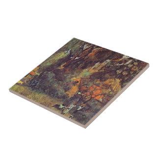 Chozas de Paul Gauguin- debajo de árboles Azulejo Cuadrado Pequeño