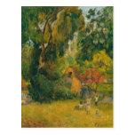 Chozas debajo de los árboles de Paul Gauguin Postal