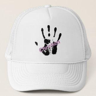 Chrétien Lila sur mains noire Trucker Hat