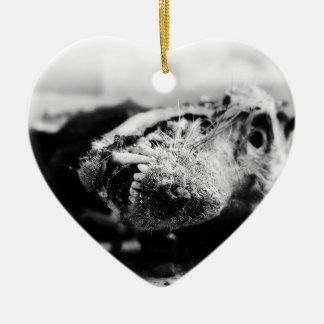 Chribska Dog Double-Sided Heart Ceramic Christmas Ornament