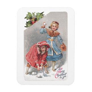 Chrildren Throwing Snowballs Vintage Christmas Car Magnet