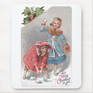 Chrildren Throwing Snowballs Vintage Christmas Car Mouse Pad