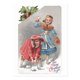 Chrildren Throwing Snowballs Vintage Christmas Car Postcard