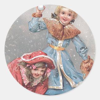 Chrildren Throwing Snowballs Vintage Christmas Car Classic Round Sticker