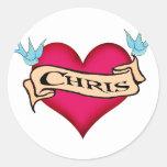 Chris - camisetas y regalos de encargo del tatuaje pegatina redonda