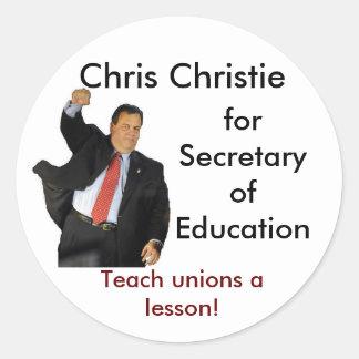 Chris Christie for Secretary of Education Classic Round Sticker