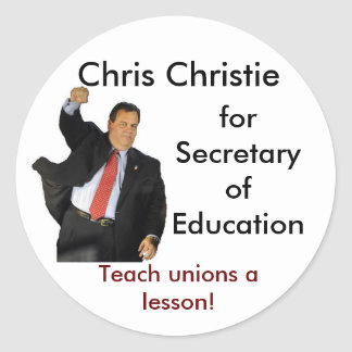 Chris Christie para la secretaria de la educación Pegatina Redonda