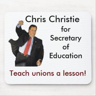 Chris Christie para la secretaria de la educación Tapetes De Ratones