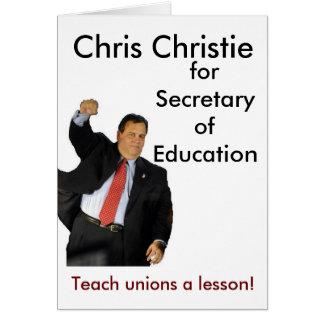 Chris Christie para la secretaria de la educación Felicitación