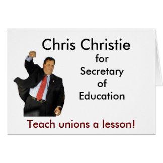 Chris Christie para la secretaria de la educación Tarjeton