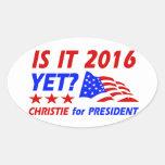 Chris Christie para los diseños del presidente Pegatina Ovalada