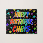 "[ Thumbnail: ""Chris"" First Name, Fun ""Happy Birthday"" Jigsaw Puzzle ]"