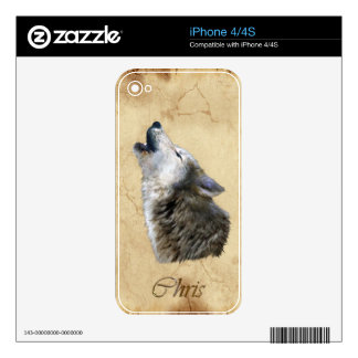 CHRIS Howling Grey Wolf & Parchment iPhone 4 Skin