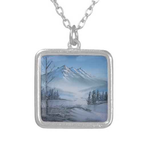 Chris Miller Snow on the Mountain Neck Lace Square Pendant Necklace