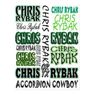Chris Rybak over over logo - Black green Postcard
