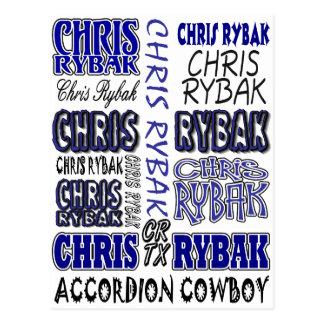Chris Rybak over over logo - Blue black Postcard