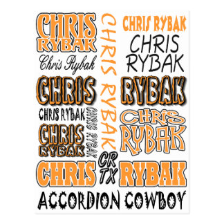 Chris Rybak over over logo - Orange black Postcard
