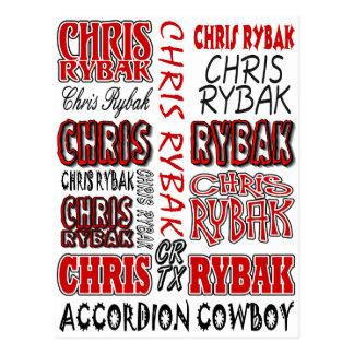 Chris Rybak over over logo Red black Postcard