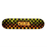 Chris skateboard fire and flames design.