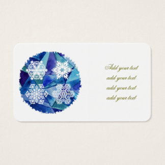 Chrismas decor,water color painting,ice crystals,d business card