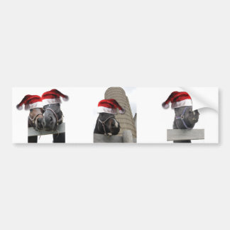 Chrismas Horses With Santa Hats Bumper Sticker