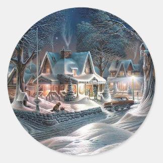 Chrismas Winter Cottage Classic Round Sticker