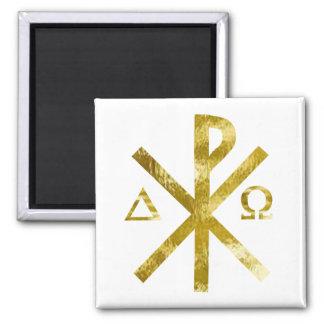 Chrisme Alpha Oméga Or-2 2 Inch Square Magnet