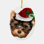 Chrismtas Yorkshire Terrier puppy dog Ceramic Ornament