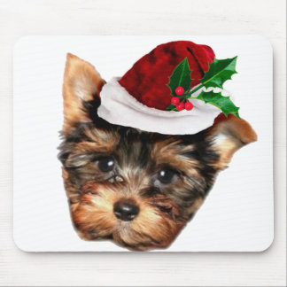 Chrismtas Yorkshire Terrier puppy dog Mouse Pad