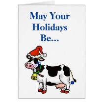 Chrismukkah Card with Cow