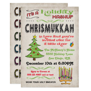 Chrismukkah Holiday Party Mashup Card at Zazzle