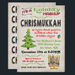 "Chrismukkah Holiday Party mashup Invitation<br><div class=""desc"">Celebration Christmas and Hanukkah with this fun Chrismukkah Holiday Party invitation. Features a Chrismas tree,  menorah and dreidel with fun typography against a grungy antique background.</div>"