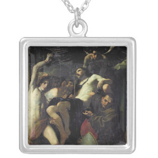 Christ Adored by Angels, St. Sebastian Silver Plated Necklace