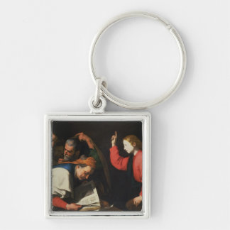 Christ among the Doctors, c.1630 Silver-Colored Square Keychain