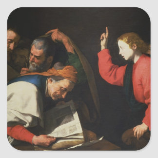 Christ among the Doctors, c.1630 Square Sticker