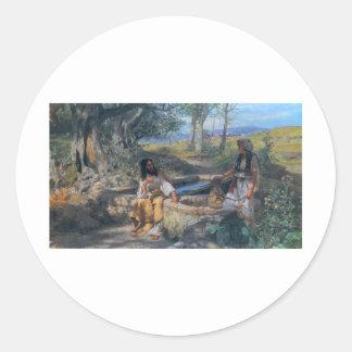 Christ and Samaritan woman circa 1890 Classic Round Sticker