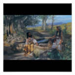 Christ and Samaritan woman circa 1890 Poster