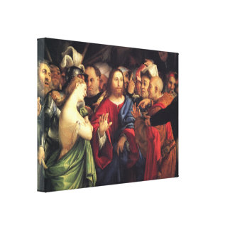 Christ And the Adulteress by Lorenzo Lotto Canvas Prints