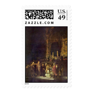 Christ And The Adulteress By Rembrandt Harmensz. Postage Stamps