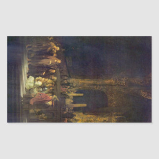 Christ and the Adulteress by Rembrandt Rectangular Sticker