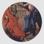 Christ And The Adulteress Detail By Poussin Nicola Sticker