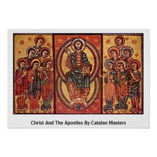 Christ And The Apostles By Catalan Masters Poster